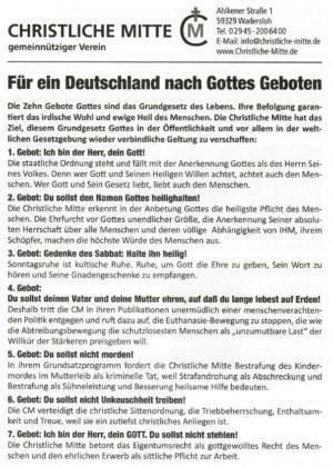 Flugblatt: für ein Deutschland nach Gottes Geboten